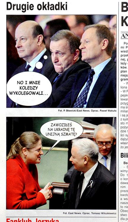ANGORA nr 51/2013 r., s. 16 - dwa zdjęcia: Grzegorz Schetyna, Donal Tusk, Jacek Rostowski oraz Jarosław Kaczyński i Krystyna Pawłowicz