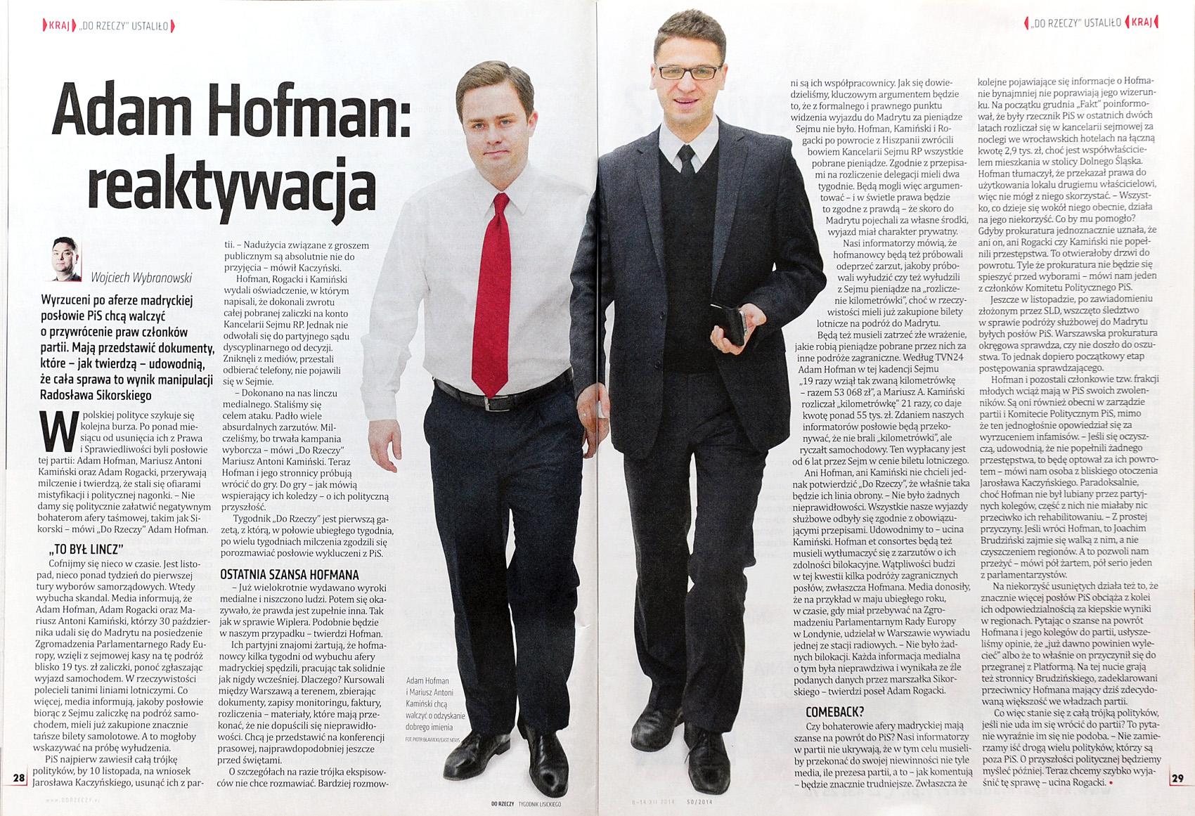 DO RZECZY nr 50/2014 s. 28-29 Adam Hofman i Mariusz Antoni Kamiński