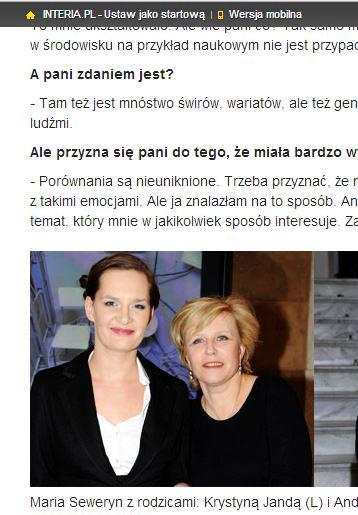 portal INTERIA.pl 05.11.2013 - Maria Seweryn i Krystyna Janda