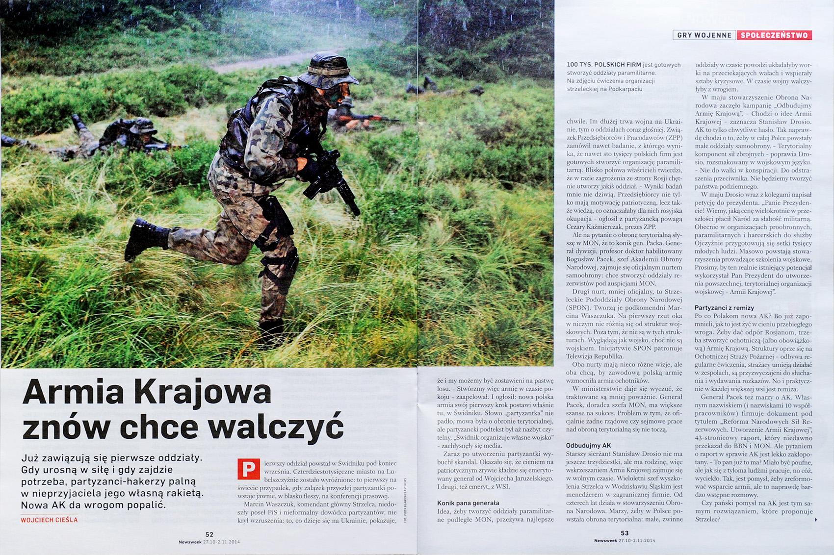 NEWSWEEK nr 44/2014 s. 52-53 - obóz szkoleniowy dla młodzieży ze związku strzeleckiego Strzelec
