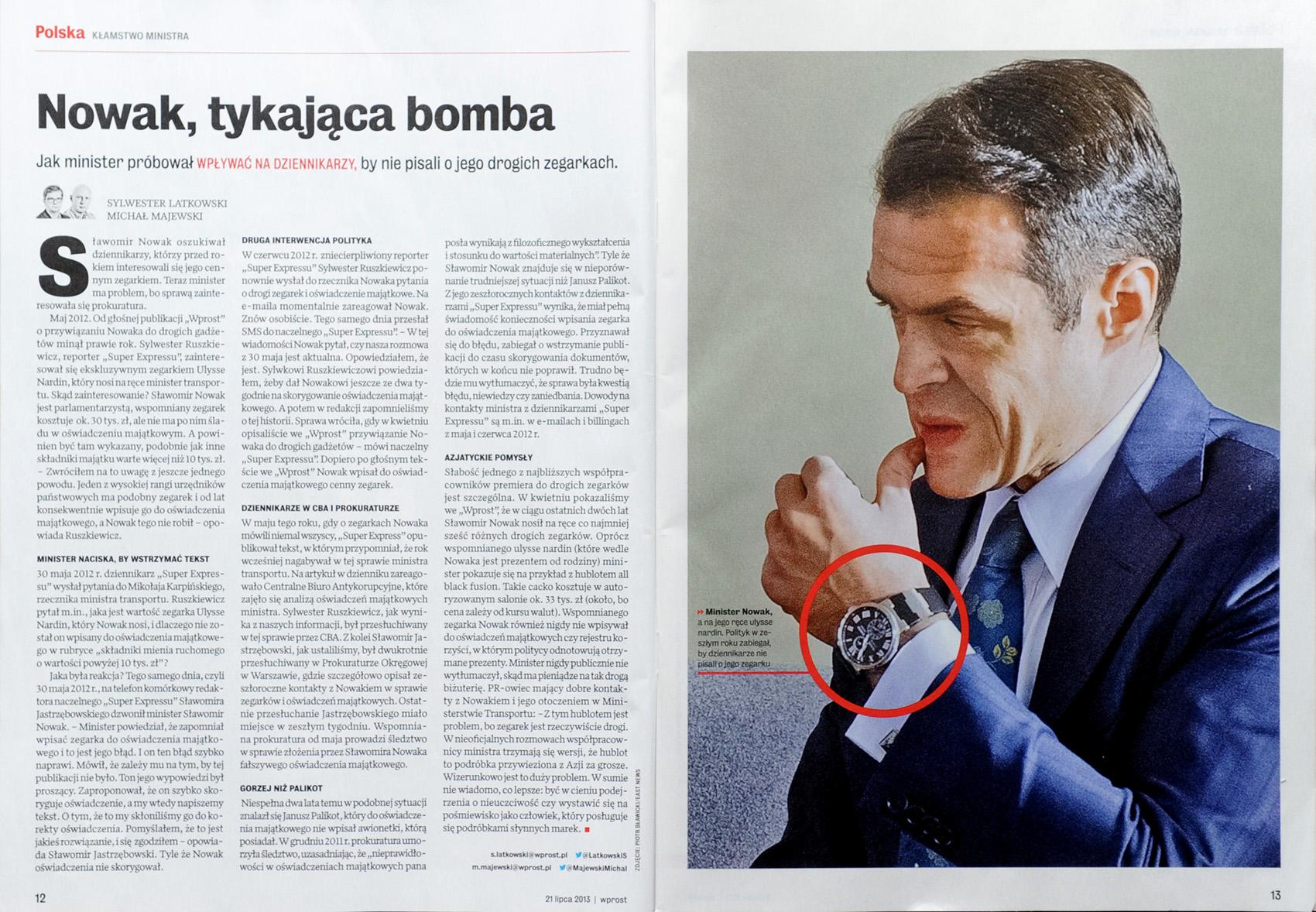 tygodnik WPROST nr 29/2013 r., s. 12-13  minister transportu Sławomir Nowak z zegarkiem Ulysse Nardin