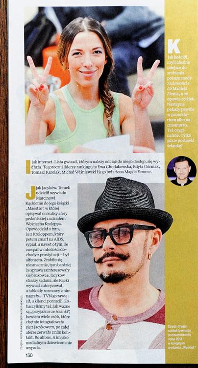 WPROST nr 51-52/2013 r., s. 130 - dwa zdjęcia: Ewa Chodakowska i Tomasz Jacyków