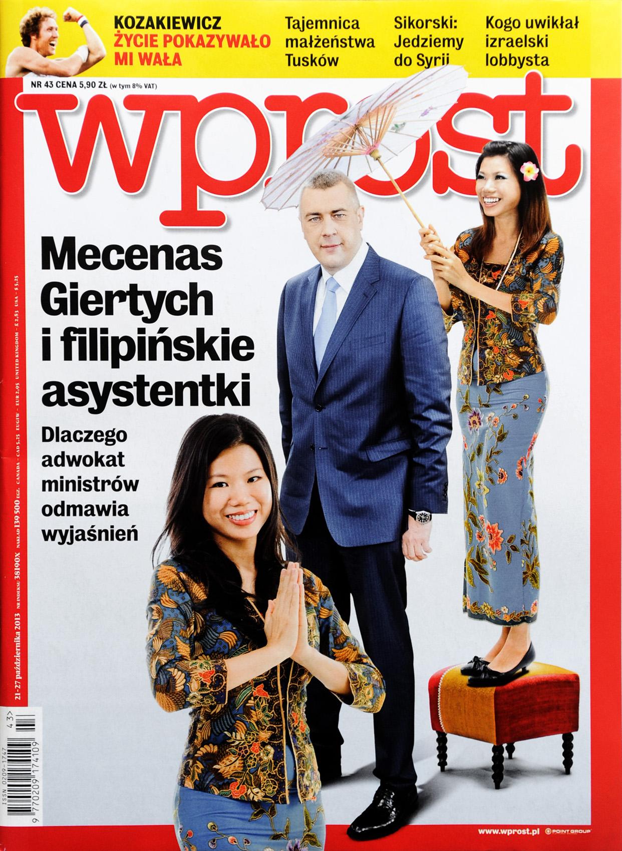 tygodnik WPROST nr 43/2013 r., okładka - Roman Giertych