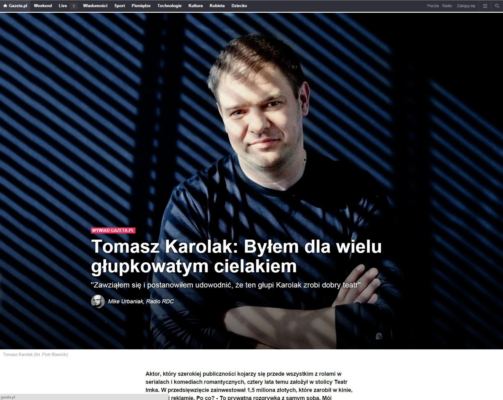 GAZETA.PL z dnia 05.10.2014 - Tomasz Karolak (główne zdjęcie tzw. driver)