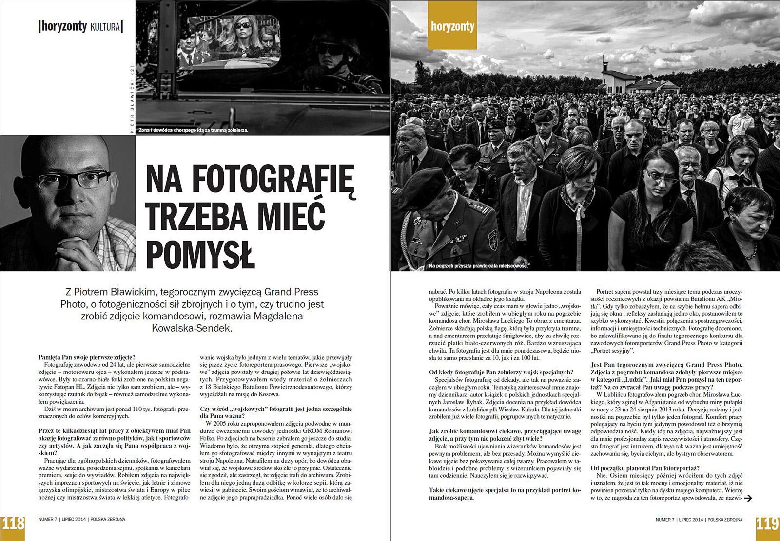 miesięcznik POLSKA ZBROJNA nr 7/2014 r., s. 118-119 - fotoreportaż z pogrzebu komandosa JWK