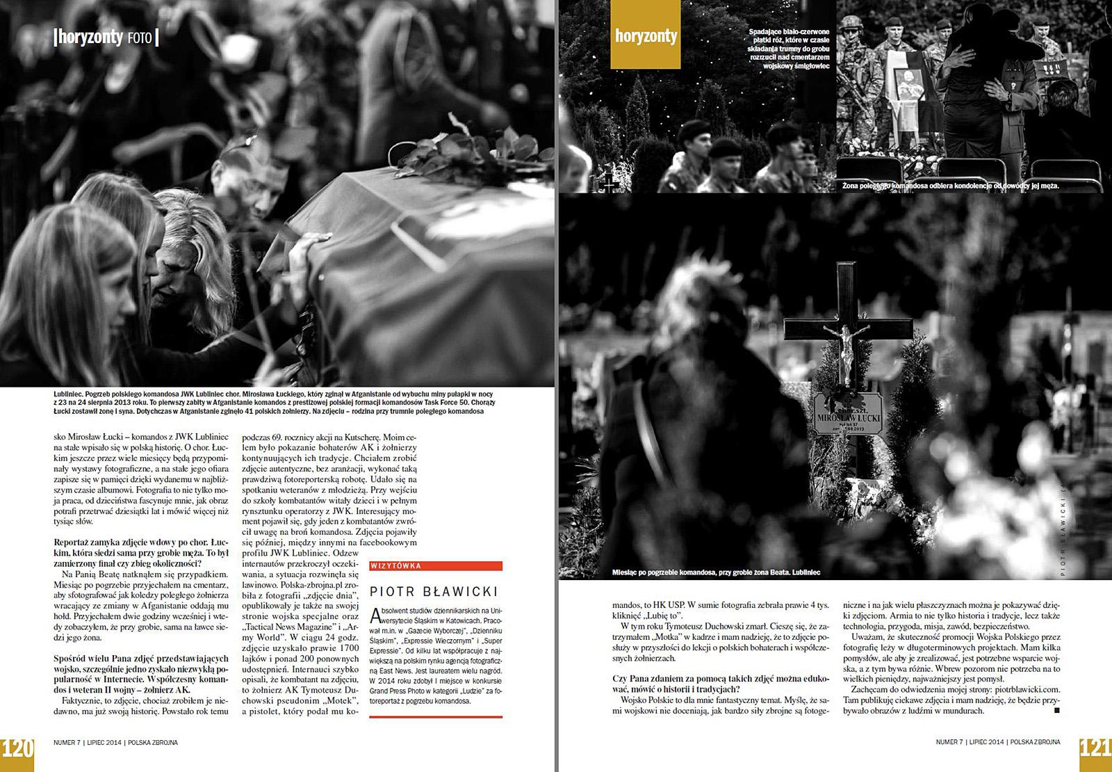 miesięcznik POLSKA ZBROJNA nr 7/2014 r., s. 120-121 - fotoreportaż z pogrzebu komandosa JWK