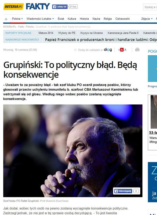 portal INTERIA.pl 11.06.2014 - Rafał Grupiński