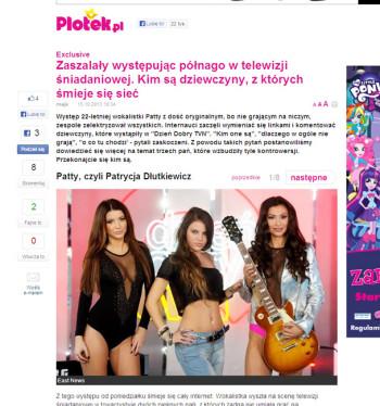 portal PLOTEK.pl 15.10.2013 r. - Patty z swoim zespołem, po prawej Angelika Fajcht